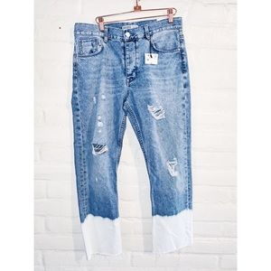 Zara    Cigarette Bleached Bottom Jeans 6